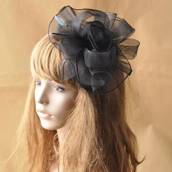 Black Beige European Mesh Hairband Gauze Flower Headband Wedding Hats And Fascinators Bridal Hair Accessories