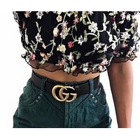 GUCCI Stylish Woman Trending Men Metal Double G Smooth Buckle Belt Leather+Gift Box I