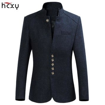 HCXY Men's Retro Chinese collar casual suits jacket men business blazers Men's large size jackets coat M-6XL