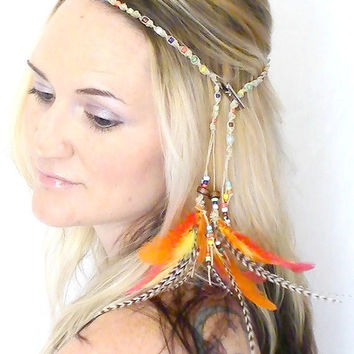 Hippie Headband with Feather Extensions Harvest by MoJosFreeSpirit