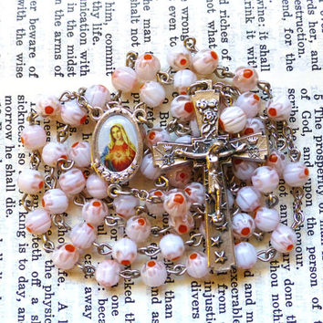 Immaculate Heart Rosary - Catholic Rosary, Pink Millefiori Glass Beads, Floral
