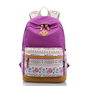 Day-First™ Lightweight Canvas Laptop Backpack Cute College School Bag