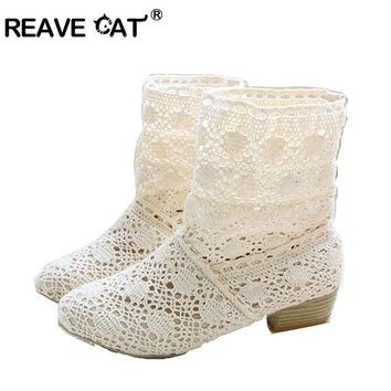 REAVE CAT crochet summer boots bootie Cutout Knitted boots big size 40 42 41 hollow fashion women boots Beige Black RL386