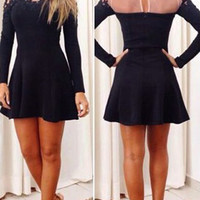 Long Sleeve Lace Embellished Ruffled Dress