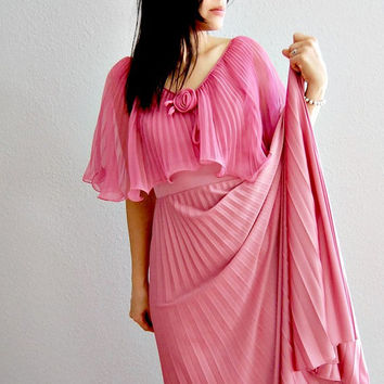 chiffon CAPE dress / dusty ROSE pleated party by vintagemarmalade