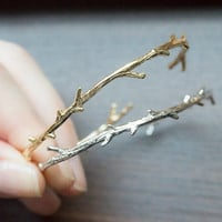 tree branch adjustable bangle cuff bracelet gold or silver