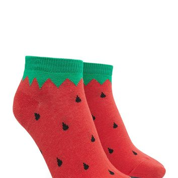 Strawberry Print Ankle Socks