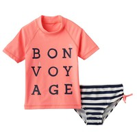 OshKosh B'gosh ''Bon Voyage'' 2-pc. Rash Guard Swimsuit Set - Toddler Girl, Size: