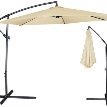 Clevr 10ft Offset Umbrella Outdoor Deck Patio Cantilever Hanging Canopy Beige