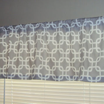 50x14 Modern Gray Chain LInk Cotton Valance Window Treatment