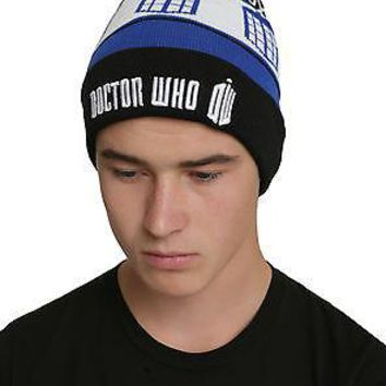 Licensed cool Doctor Who Dr Tardis Police  Box Embroidered Knit Pom Beanie Hat  Fair Isle