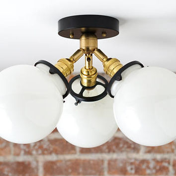 Globe Lights - Semi Flush - Mid Century Modern - Brass Ceiling Lamps