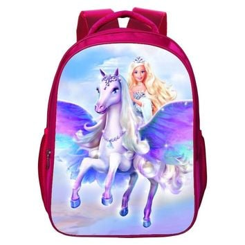 2017 Fashion Oxford 16 Inches Printing Cute Girl Cartoon Princess School Bags for Children Bookbag Women Backpack for Kids Baby