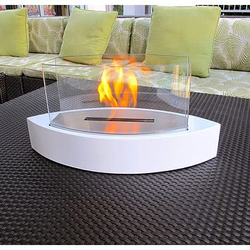 Chic Fireplaces- Concord White TableTop Ventless Bio Ethanol Fireplace