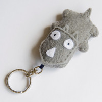 Rhino felt key ring, grey