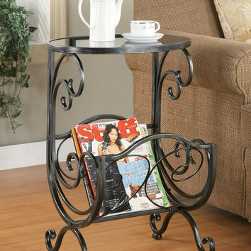 Coaster 700401 Black with silver metal finish oval top chair side table with magazine rack and glass top