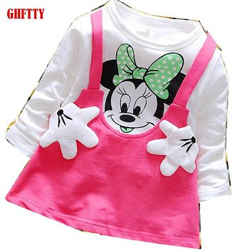 Princess Girls Dress Children Long Sleeve Cartoon baby girl Cotton Party Dresses for kids 2017 New Minnie Mouse Dress Cotton