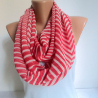Red white striped scarf/ Loop scarf/ Chiffon scarf/ Scarves women/ Circle scarf/ Ready to shipping.