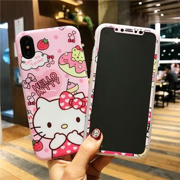 For iPhone X kitty Case + screen protector Cartoon Hello kt cat smooth TPU Cover for iPhone 10 8 7 6 6s plus Tempered Glass film