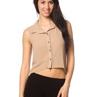 Collared High-Low Chiffon Tank - Taupe from Basics at Lucky 21 Lucky 21