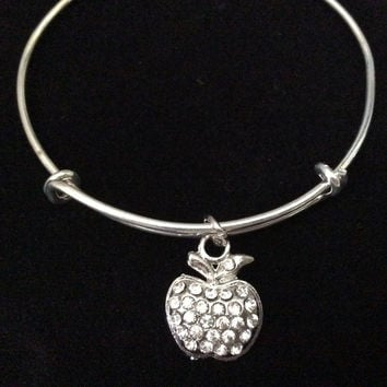 Crystal Apple Charm on Silver Expandable Adjustable Wire Bangle Bracelet Stacking Handmade Trendy Gift Teacher School Aid