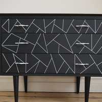 White Lines - Vintage Retro Chest of Drawers
