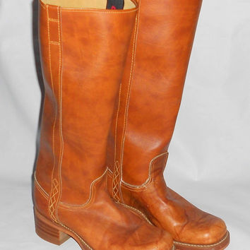 Vintage Dingo Leather Riding Boots Size 7.5 Made in USA