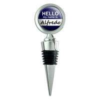 Alfredo Hello My Name Is Wine Bottle Stopper