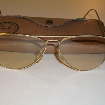 VINTAGE B&L RAY BAN GP BROWN CHANGEABLES UV WRAP-AROUNDS AVIATOR SUNGLASSES