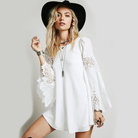 Loose Lace Patchwork Long Sleeve A-Line Dress