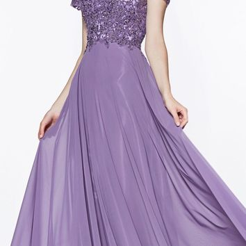 Long Cap Sleeve Chiffon Gown Violet Beaded Lace Detail Closed Back