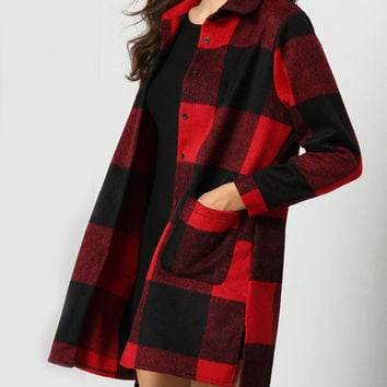 Red Black Lapel Plaid Pockets Coat