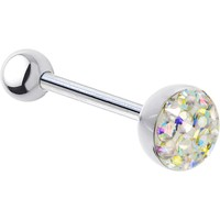 Aurora Ferido Gem Dome Austrian Crystal Barbell Tongue Ring