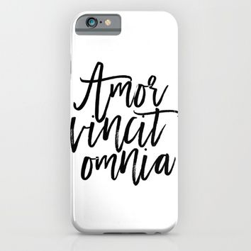"""Love Quote """"Amor Vincit Omnia"""" Valentines Day One Year anniversary 1 Year anniversary iPhone & iPod Case by PrintableLifeStyle"""