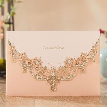 new 50pcs/set  free envelop and free seal Floral Cut-out pocket style with gold foil Wedding Invitation CW7011