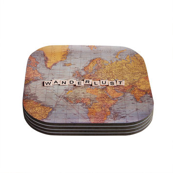 "Sylvia Cook ""Travel Map"" World Coasters (Set of 4)"