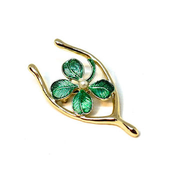 Vintage Brooch,Signed GERRY'S Shamrock Brooch,St Patricks Day Accessories,Novelty Wishbone Brooch,Irish Pin,Four Leaf Clover,Good Luck Charm