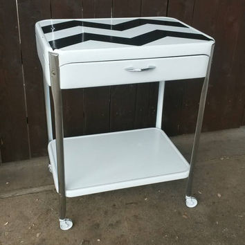 Metal Rolling Bar Cart White & Chrome Chevron Stripes Shelves on Casters Wheels Serving Cart Kitchen Storage Island Entryway Table Vintage