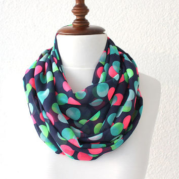 NEW Polka Dots Print Navy Blue Infinity Scarf - Loop Scarf - Circle Scarf - Cowl Scarf - Soft and Lightweight