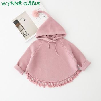 Winter Autumn Baby Girls Solid Hooded Knitwear Pullover Tassels Jacket Sweatercoat Kids Casual Knitted Outerwear Coat casaco