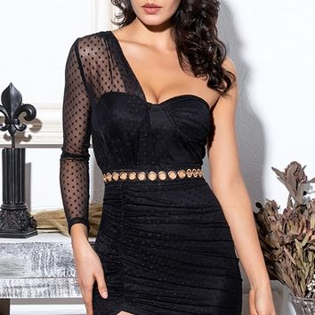 Making Good Choices Black Sheer Mesh Lace Dot One Long Sleeve Ruched Bodycon Mini Dress