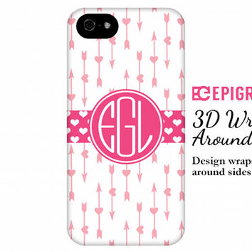 Monogram iPhone 6 case, pink hearts iPhone 6 plus case, valentines gifts, iPhone 5s case, iPhone 5c case, iPhone 4s case, Galaxy s5 case