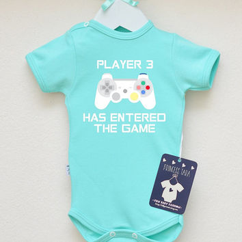 Player 3 Has Entered The Game Baby Clothes. Gamer Baby Clothes. Adorable Video Game Baby Outfit. Baby Shower Gift. Choose Your Color.
