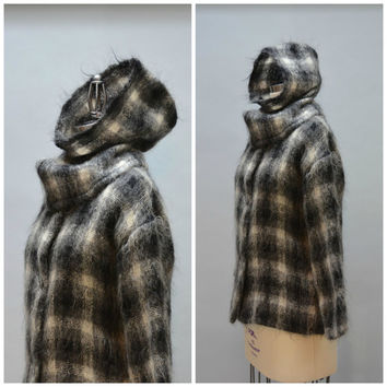 Plaid Mohair Jacket and Hat - Vintage 80s Eighties Plaid Black White Gray Plaid Mohair Coat with Separate Removable Hood Size M - L
