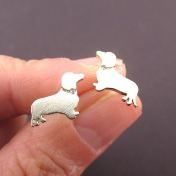 Dachshund Sausage Weiner Dog Shaped Stud Earrings with Rhinestones in Gold