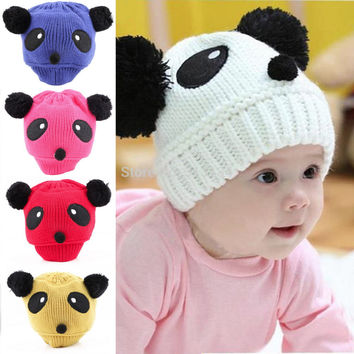 1pc High Quality New Colorful Lovely Animal Panda Baby Hats Caps Kids Boy Girl Crochet Beanie Hats Winter Cap Keep warm hat