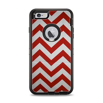 The Red Vintage Chevron Pattern Apple iPhone 6 Plus Otterbox Defender Case Skin Set