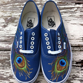 Custom hand painted vans, Pretty as a Peacock