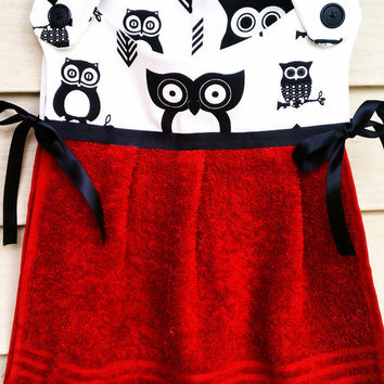 Owl Hand Towel Red Towel Black Owls by HandtowelsByOlivia on Etsy