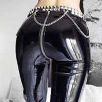 Hot style sexy PU leather shiny high waist crotch zipper pants
